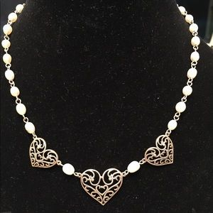 Sterling Silver Heart and Pearl Necklace